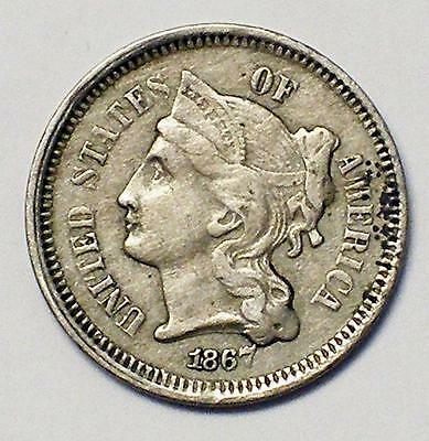 1867 3CN Three Cent Nickel Coin VERY HIGH GRADE
