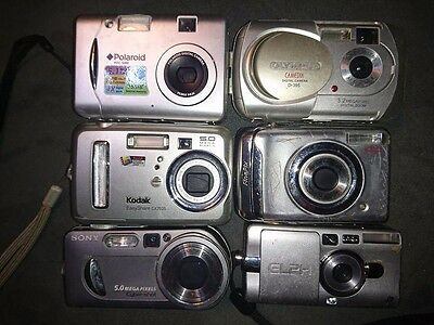 6 Cameras UNTESTED AS IS FOR PARTS OR REPAIR ONLY Polaroid Kodak olympus sony