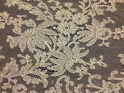 Antique Panel of Brussels HMl Needle Lace Embroidery on Veil Uneven Shape #2