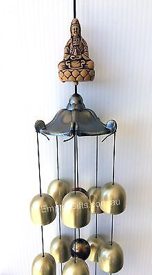 Wind Chime Buddha Kwan Yin Brass Bells Garden Ornament Hanging Mobile