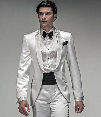 White Men's Wedding Suits Slim Fit Floral Lapel Groom Tuxedo Prom Formal Suits