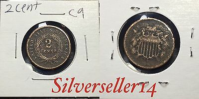 2 cent cull lot 1865-1873 RARE COIN nice brown tone #C9