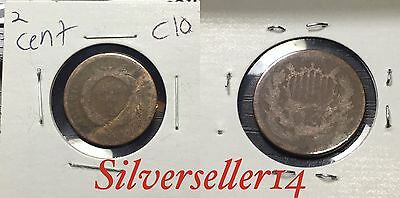 2 cent cull lot 1865-1873 RARE COIN nice brown tone #C10