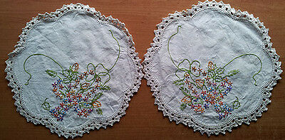 Doilies, pair, embroidered with edge crochet, vintage