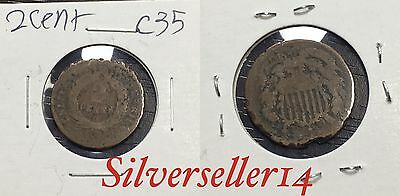 2 cent cull lot 1865-1873 RARE COIN nice brown tone #C35