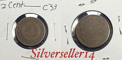 2 cent cull lot 1865-1873 RARE COIN nice brown tone #C33