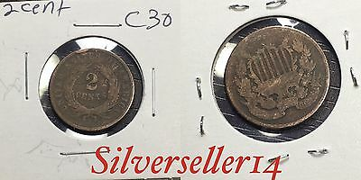 2 cent cull lot 1865-1873 RARE COIN nice brown tone #C30