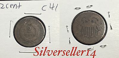 2 cent cull lot 1865-1873 RARE COIN nice brown tone #C41