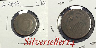 2 cent cull lot 1865-1873 RARE COIN nice brown tone #C19