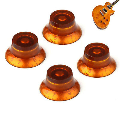 4pcs Musical Instrument Parts Amber Electric Guitar Knobs Control Volume