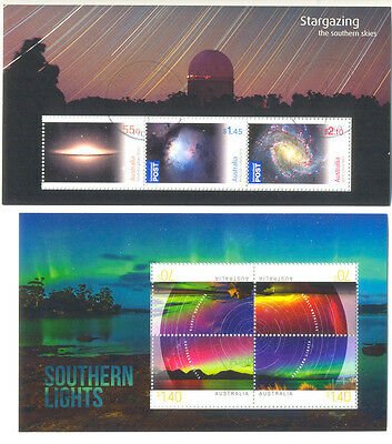 Stargazing & Southern Lights-Space-Australia 2 min sheets fine used cto-Science
