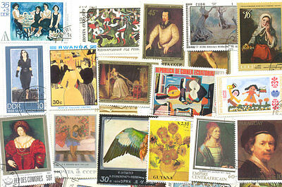 Art-Paintings collection of 1000 all different stamps-early-Modern-med-large