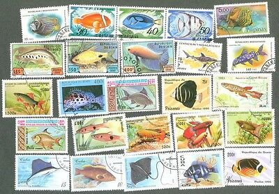 Fish - 100 all different stamps collection