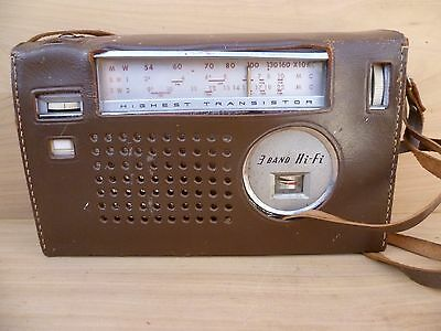 Vintage Old Bal-Air Transistor Radio In Leather Case, Old Radio (E596)