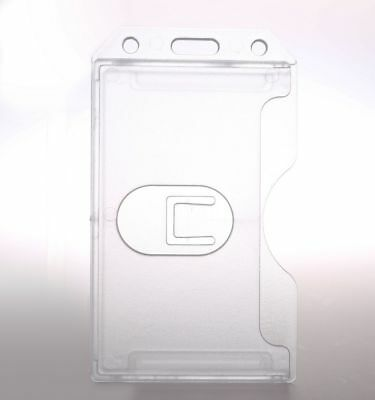 New Clear Vertical Hard Plastic Double ID Card Transparent Badge Holders KA04