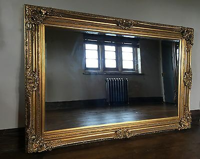 Antique Gold Ornate Large French Boudoir Wood Dress Leaner Wall Mirror 6Ft X 3Ft