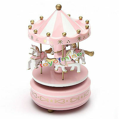 Wooden Horse Merry-Go-Round Carousel Classic Music Box Kids Children Gift Toy
