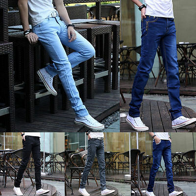Fashion Men's Slim Fit Straight Washed Denim Pants Pencil Trousers Casual Jeans