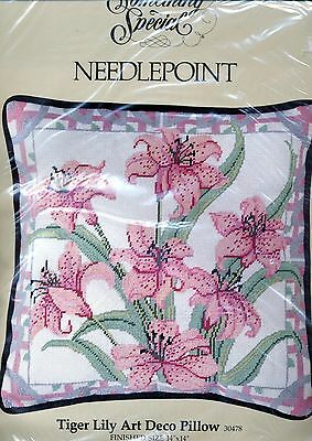 """Something Special Needlepoint Kit -  Tiger Lily Art Deco Pillow - 14"""" x 14"""""""