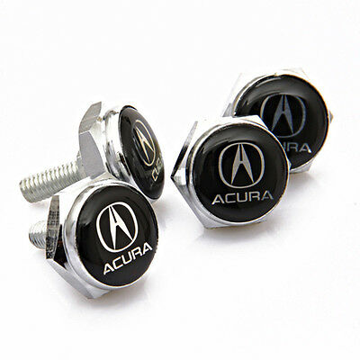 4Pcs Metal Car License Plate frame holder Bolts Screws Cap Cover fit for Acura