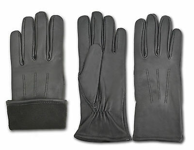 Ladies Winter Warm Outdoor Walking Real Leather Gloves Vintage Style Full Finger