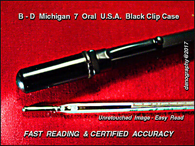 B - D Michigan 7 ORAL Fever Thermometer with Black Bakelite Pocket Clip Case