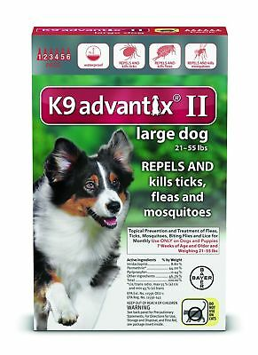 K9 ADVANTIX II Flea Control for Large Dogs 21-55 lbs, 2 Month Supply
