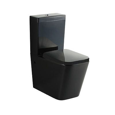 Black Square Modern Design Wall Faced Toilet Suite P Or S Trap Melbourne
