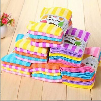 5PCS Clean Stripe Colorful Kitchen Dining Microfiber Square Water Cloth Tower