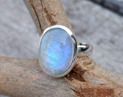 Sterling Silver Big Nepali Rainbow Moonstone Solid Silver Ring Size M N O P R S