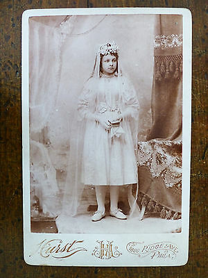 ANTIQUE 19th C CABINET CARD Pretty VEIL Young Girl CONFIRMATION Religious Photo
