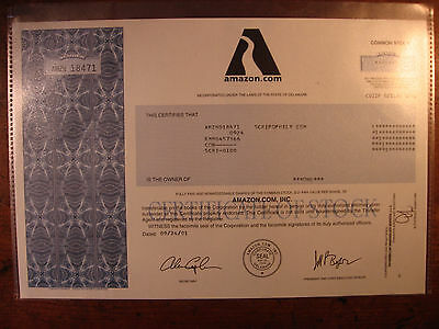 EARLY AMAZON.COM STOCK CERTIFICATE(Finance/Jeff Bezo/Wal-mart/Collectable/Market