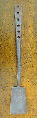 Antique 19th C Hearth HAND WROUGHT FORGED Iron Unique Handle SPATULA Turner Peel