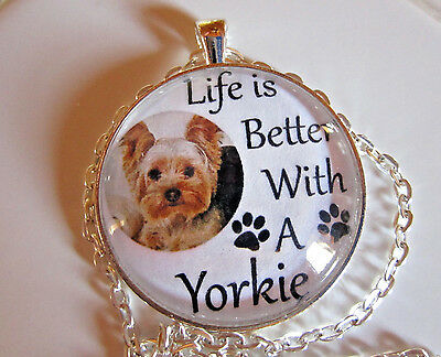 """Life Is Better With A Yorkie 1.5"""" glass dog pendant necklace jewelry w/chain"""