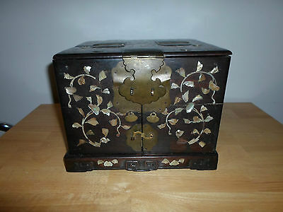Vintage China MOP inlay lacquer travel vanity chest with mirror, brass handles