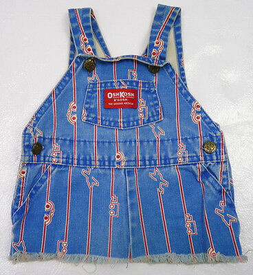 Vtg 80s OshKosh B'Gosh VESTBAK Denim Planes Cars Print Bib Jumper Dress 12-24 mo