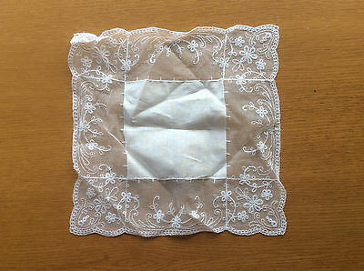 New Vintage White Handkerchief or Square Doily, Net/Lace Effect Floral Trim
