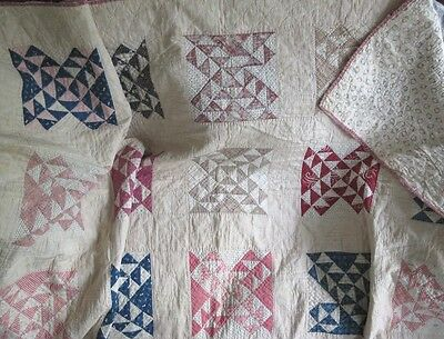 "Antique Quilt Early Fabrics Hand Stitch 60x60""Whole Cloth Backing Cottage Throw"