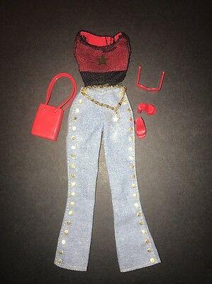 2001 Barbie Fashion Avenue Blues Top Jeans Doll Clothes Outfit 55516 Mattel