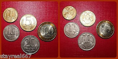 Russia 1; 5; 10; 20; 100 Rubles Coins 1992 first Russian Federation Coins