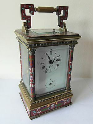 Large Carriage Clock Cloisonne Brass Alarm Subsidiary