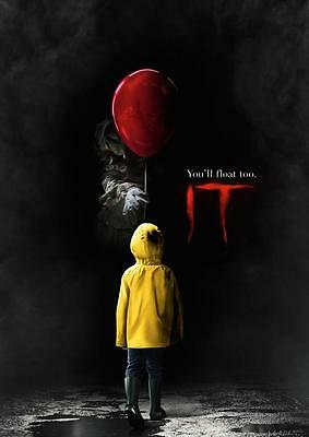 IT 2017 MOVIE POSTER Stephen King Pennywise Print Photo Wall Art Poster A3 A4