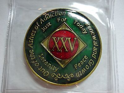 NA Tri-Plate Narcotics Anonymous Green Red & Gold Coin 25 Year Medallion