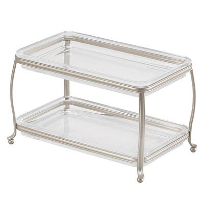 Double Vanity Cosmetics Make Up Organizer Tray Satin Clear Perfume Tray Bathroom