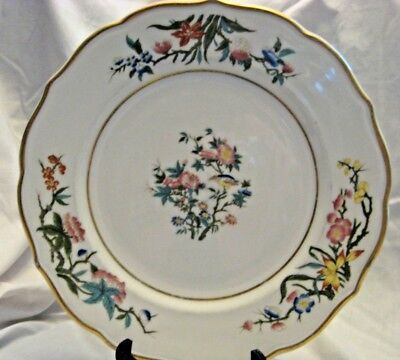 "Syracuse China 10 1/2"" Serving Plate Beige With Flowers and Birds, Rare"