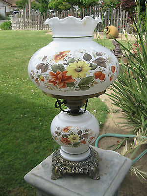 Beautiful Vintage Antique Floral Shade Gone With The Wind Victorian Table Lamp