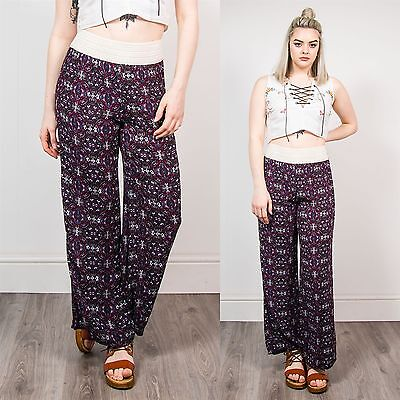 Retro Purple Patterned Wide Leg Trousers Summer Hippie Loose Fit Boho 8