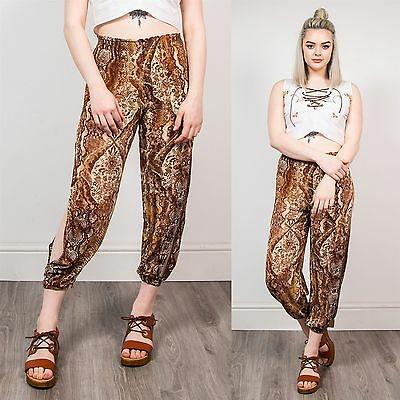 Womens Cut Out Cropped Trousers Brown Snake Paisley Pattern Summer 00's 6 8
