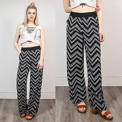 Womens Wide Leg Summer Trousers Stripe Pattern Loose Fit Hippie Festival 10