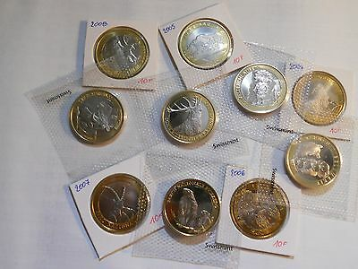 Lot de 10 monnaies BIMETAL commémorative 10 francs Suisse
